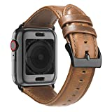 BRG Leather Bands for Apple Watch Band 44mm 42mm with Case, Men Women Replacement Genuine Leather Strap for iWatch Series 5 4 3 2 1 Sport and Edition
