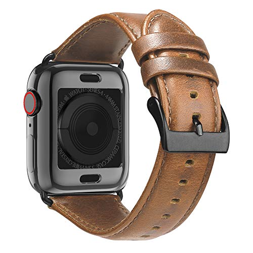 BRG Leather Bands for Apple Watch Band 44mm 42mm 40mm 38mm with Case