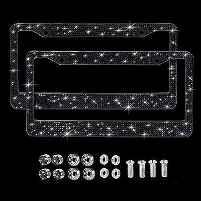 SAVORI Diamond Car License Plate Frame, 2 Pack Luxury Sparkly Bling White Rhinestone Car Stainless Steel Metal Frames with 4 Anti- Theft Screw Caps(Black): Automotive