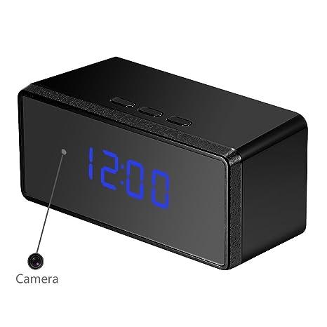 OMOUP 16GB 1080P HD Cámara Espía Oculta Reloj Despertador Digital Camaras con Detectores de Movimiento de
