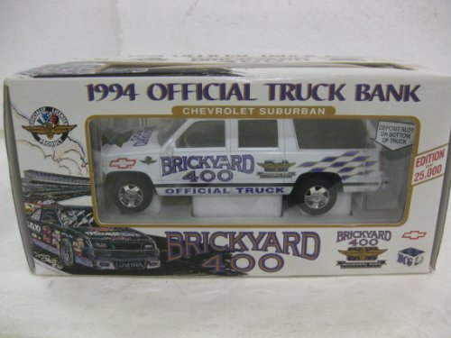 1994 Chevrolet Suburban Official Truck Bank Brickyard 400 In White Diecast 1:25 Scale By Brookfield Collectors Guild (Chevy Suburban Model compare prices)