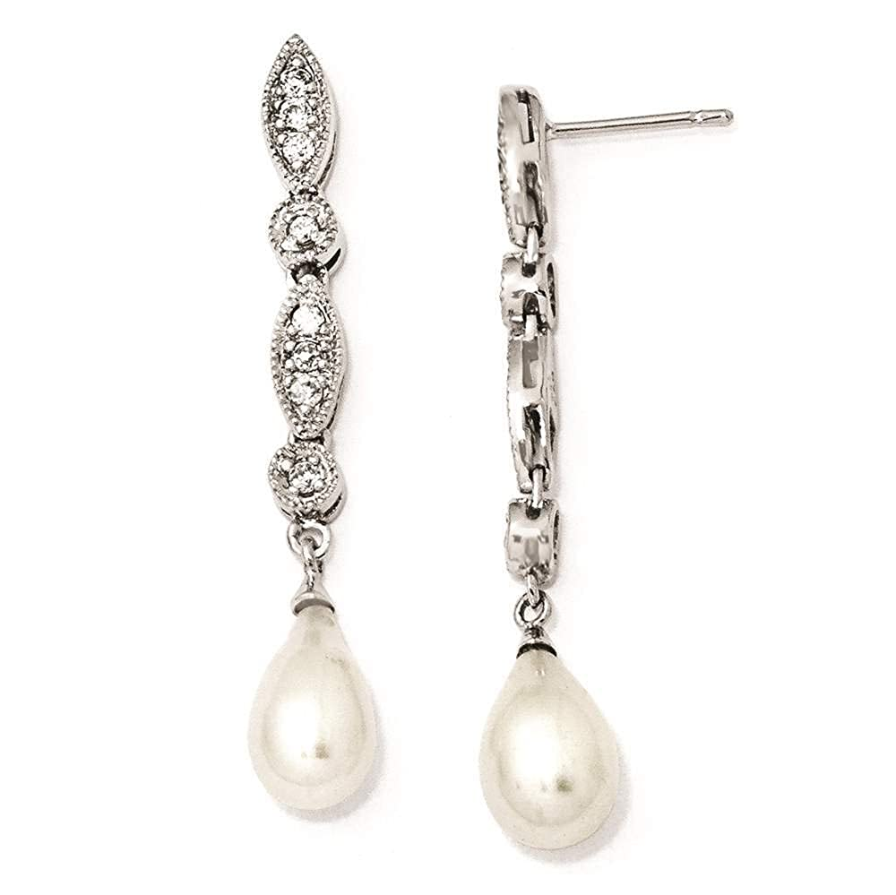 925 Sterling Silver CZ /& Freshwater Cultured Pearl Dangle Earrings Cheryl M