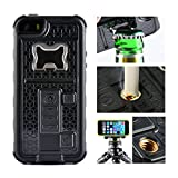 iphone 5 case with can opener - iPhone 5 Case, Multi-functional Built-in Cigarette Lighter/Bottle Opener & Camera Stable Tripod Protective Shock Proof Cover for Apple iPhone 5/5S/5SE (Black)