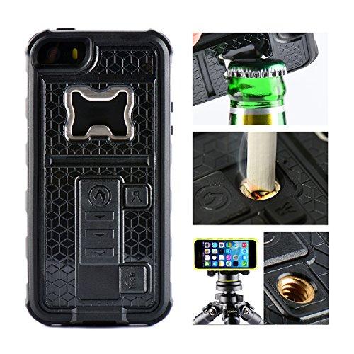 iPhone 5 Case, Multi-functional Built-in Cigarette Lighter/Bottle Opener & Camera Stable Tripod Protective Shock Proof Cover for Apple iPhone 5/5S/5SE (Black) (Lighter Phone Cases)