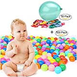 TrendBox 500 Colorful Ocean Ball (Ship From USA) + Free Gift 50 Size 10'' Balloons For Babies Kids Children Soft Plastic Birthday Parties Events Playground Games Pool