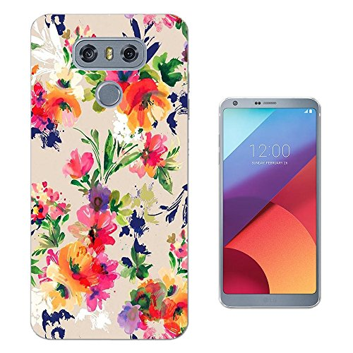 002460 - Floral Vintage Shabby Chic Roses Fleur Wild Flowers Design LG G6 CASE Gel Silicone All Edges Protection Case Cover