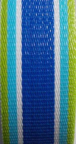 WebbingPro(TM) Lawn Chair Webbing Kit - Blue Green Stripe Lawn Chair Webbing 3 Inches Wide 50 Feet Long Roll and 30 Webbing Screws