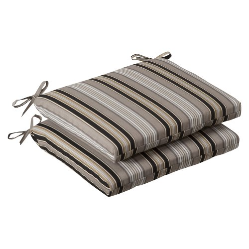 Pillow Perfect Indoor/Outdoor Black/Beige Striped Seat Cushion, Squared, (Wrought Iron Onyx)