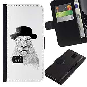 All Phone Most Case / Oferta Especial Cáscara Funda de cuero Monedero Cubierta de proteccion Caso / Wallet Case for Samsung Galaxy Note 3 III // Funny Meth Cook Lion