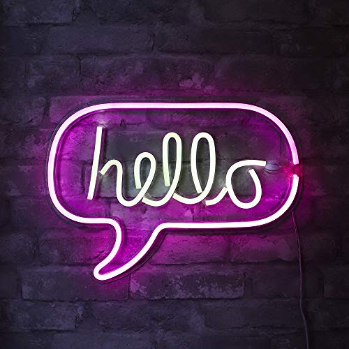 Isaac Jacobs 17 x 12 inch LED Neon 'White & Pink hello Word Bubble' Wall Sign for Cool Light, Wall Art, Bedroom Decorations, Home Accessories, Party, and Holiday Décor: Powered by USB Wire (HELLO)