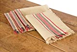 Xia Home Fashions Linen Stripe Napkin, 20 by 20, Natural, Set of 4