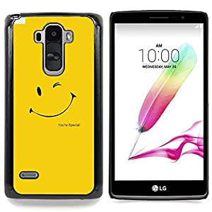 CUTE YELLOW SMILEY FACE Caja protectora de pl¨¢stico duro Dise?ado King Case For LG G Stylo / LG LS770 / LG G4 Stylus