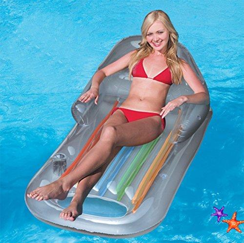 De Blue Double Surf Gonflable Chaise Équipement Flottant Accoudoirs Flotteur Natation Natation Dossier Avec L'eau Flottant Anneau Pad Lit De Mzj PZwqYtHA