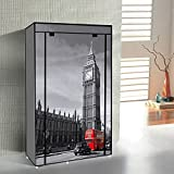 Switch Innovation Storage Closet Portable Temporary Clothing Wardrobe, Free-Standing Clothes Rack, Non-Woven Fabric Dresser, Dorm Room Cupboard, Contemporary Design Big Ben