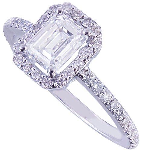 GIA H-VS2 14k white gold emerald cut diamond engagement ring halo prong 1.50ct