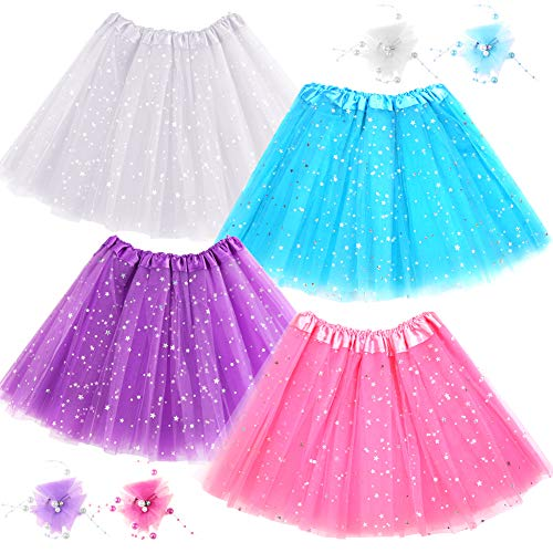 WXJ13 4 Pieces Ballet Tutu Skirt 4 Colors Three-Layer Yarn Star Ballet Skirt with 4 Pieces Lace Flower Pearl Hairpin