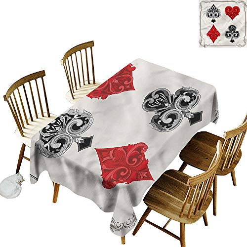 Tablecloth for Kids/Childrens Poker Tournament Gambling Symbols Table Cover for Dining 60