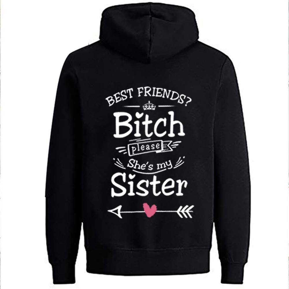 NIMAMA Best Friends Hoodie per Due Ragazze Felpa con Cappuccio Best Friends BFF Sweater Manica Lunga Felpa con Cappuccio da Donna Sweatshirt Pullover Sister 1PC