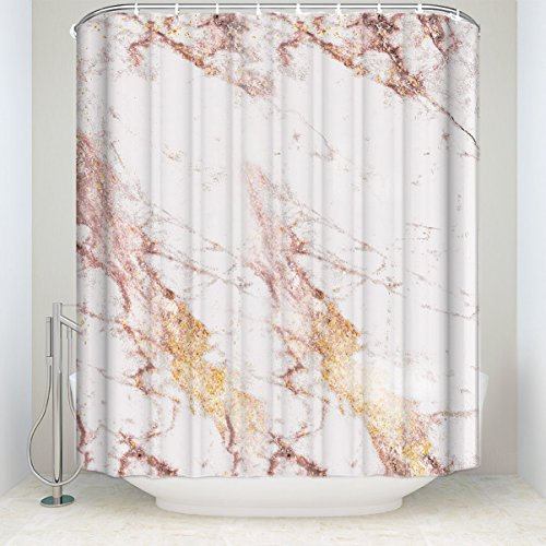 Crystal Emotion Customize Rose Gold flashing marble Mildew resistant Waterproof Bathroom Fabric Shower Curtain Bath Curtain Extra long shower curtain 84 inch