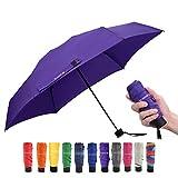 Travel Compact Umbrella Small Mini Umbrella for Backpack, Purse, Pocket - Fits Adults & Kids (Ver.1-Purple)