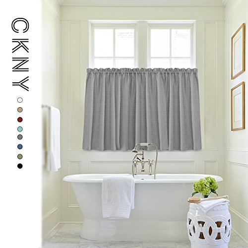 Waffle Weave Half Window Curtains for Kitchen/Bathroom Window Treatment Tiers Set (72-by-45 Inch Long, Grey, One Pair) by jinchan (Image #2)'