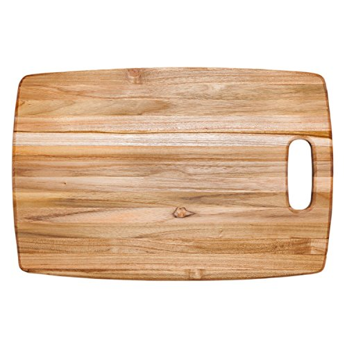 (Teak Cutting Board - Rounded Rectangle Chopping Board With Centered Handle (18 x 12 x .75 in.) - By Teakhaus)