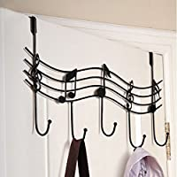 GOODFORTU New Arrival Special Offer 5 Rural Nail Music Note Style Metal Coat Hanger Wrought Iron Rack Robe Hooks (black)