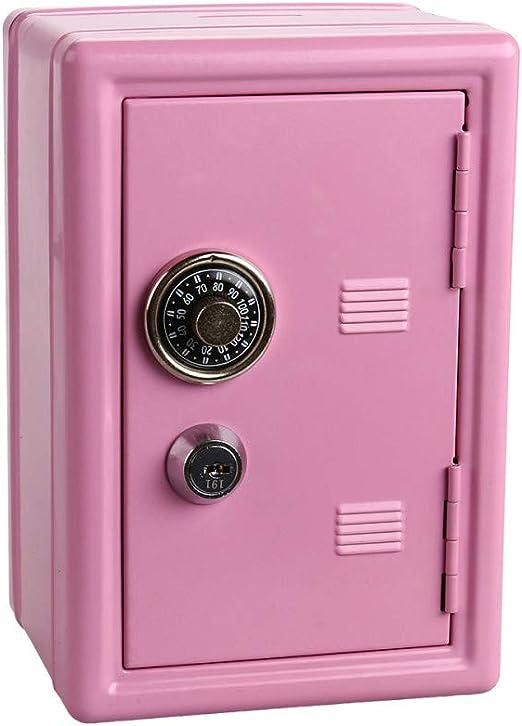 CUNQIKUN Mini Caja De Código De Metal Caja De Seguridad Caja De Ahorro De Banco De Dinero con Llave Rosa: Amazon.es: Hogar