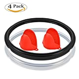 COSORI 6Qt Silicone Sealing Ring for Pressure Cooker + Free Silicone Oven Mitts, Sweet and Savory Edition Ring (Clear,Black, 6 Quart)