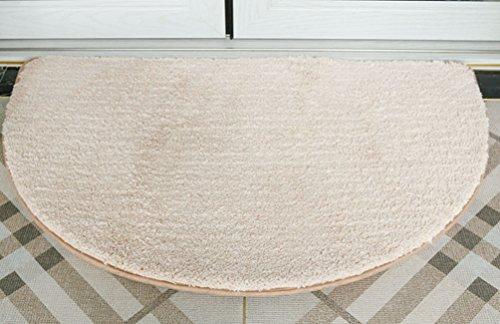 (ZebraSmile 19.5 X 31.5IN Washable Door Rug Half Moon Door Bath Mat Thin Half Round Rug Kitchen Front Under Door Mat Semi Circle Rug Bed Room Door Mat Non Slip Shower Room Rug/Camel)