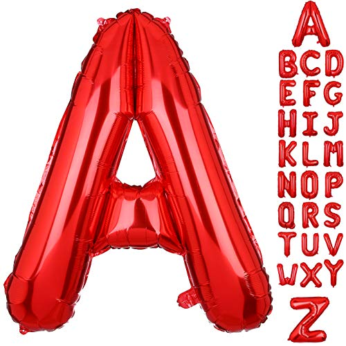 40 Inch Large Letter A Foil Balloons Red Alphabet Mylar Balloon for Birthday Party Decoration Wedding Decor -