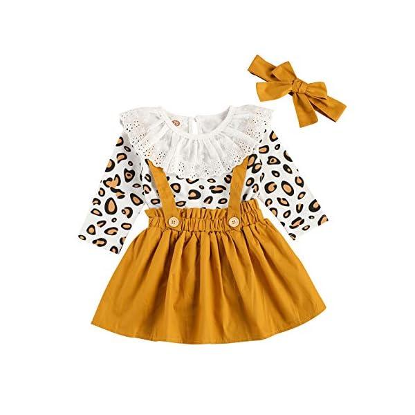 Carolilly 3 Pezzi Completo Bambina Stampa Leopardato Pagliccetto a Manica Lunga in Pizzo+Vestito Bambina Principessa… 1