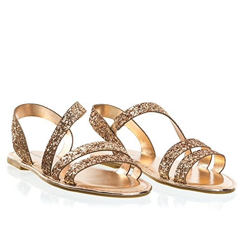 Sandal On Rock Flat Slip Glitter Strappy Gold In Rose Cage xFqxREI1w