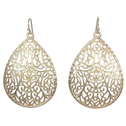 Filigree Teardrop Boutique Style Dangle Earrings (Gold Tone) -