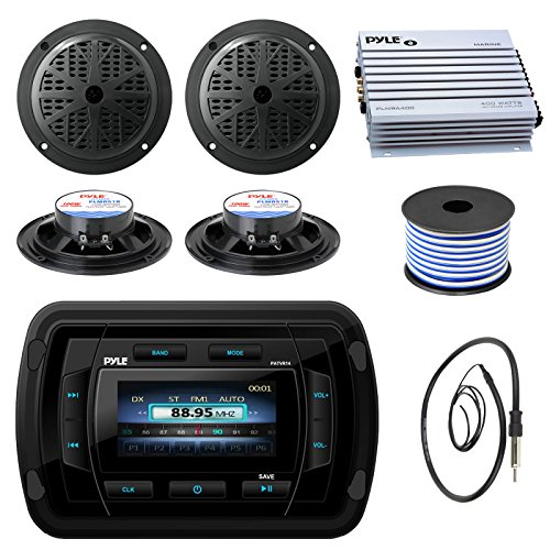 Pyle PATVR14 MP3/MP5 Bluetooth Marine Boat Yacht Stereo Receiver Bundle Combo with 4X Black 5-1/4