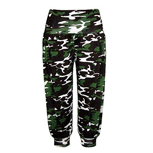 New Ladies 3/4Cropped de longitud camuflaje impresión Ali Baba harén pantalones de pantalones para mujer. Talla S-XXL