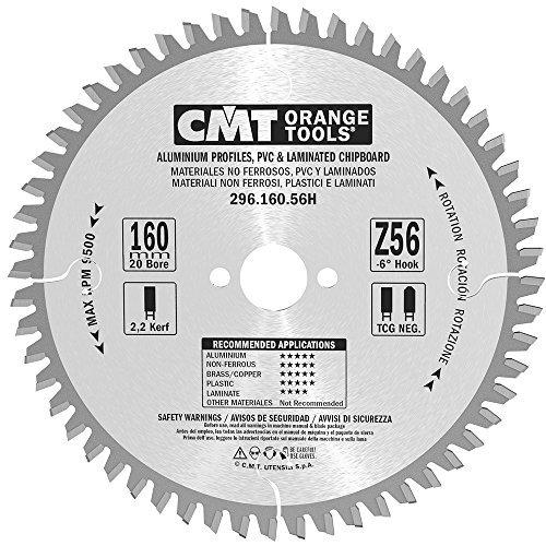 CMT 296.160.56H Non-Ferrous Metal, PVC and Melamine Blade and  160mm 6-5/16-Inch by 56 Teeth TCG Grind with 20mm Bore