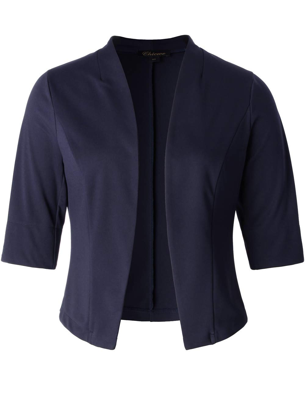 Chicwe Women's Stretch Modern Front Open Plus Size Crop Jacket Navy 2X