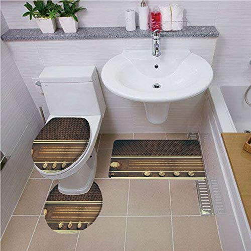 iPrint Toilet Carpet Floor mat,Vintage Decor,Old Antique Retro 60s Radio Music Player Loudspeakers Buttons Image,Brown and White,Bath mat Set Round-Shaped Toilet Mat Area Rug Toilet Lid Covers 3PCS -