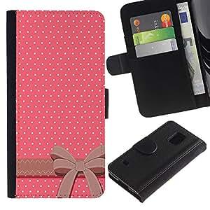 Be Good Phone Accessory // Caso del tirón Billetera de Cuero Titular de la tarjeta Carcasa Funda de Protección para Samsung Galaxy S5 V SM-G900 // Polka Dot Bow Tie Pink White Brown