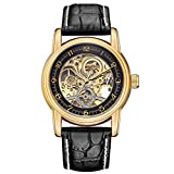 Sweetbless Wristwatches Men's Engraving Skeleton Auto Mechanical Watch PU Leather Band