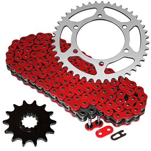 2014 O-ring Chain - Caltric Red O-Ring Drive Chain & Sprockets Fits KAWASAKI EX250J EX-250J Ninja 250R 2008-2012
