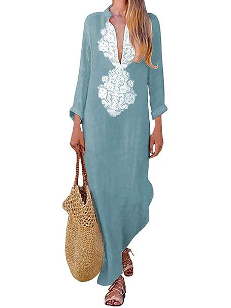 018a1633e185 Tomwell Donna Eleganti Maxi Vestito Lungo Scollo a V e Maniche Lunghe  Stampa Etnica di Moda Abito Spiaggia  Amazon.it  Abbigliamento