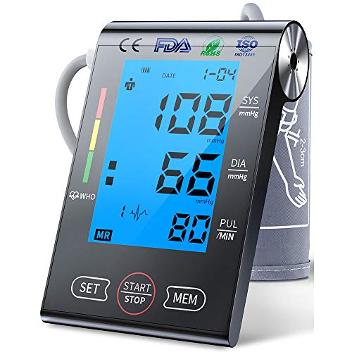 Upper Arm Blood Pressure Monitor Machine with Large LCD Screen,2 Users Mode/198-Reading Memory/Adjustable Cuff BP Monitor