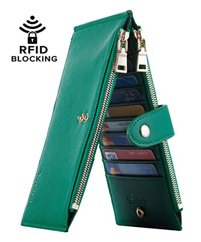 Travelambo Womens Walllet RFID Blocking Bifold Multi Card Case Wallet with Zipper Pocket (CH Green 7311)