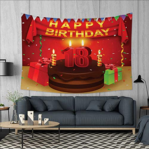 Anniutwo 18th Birthday Home Decorations for Living Room Bedroom 18 Happy Birthday Party with Curtains Cakes Baloons Adulthood Image Wall Tapestry W80 x L60 (inch) Red and Burgundy -