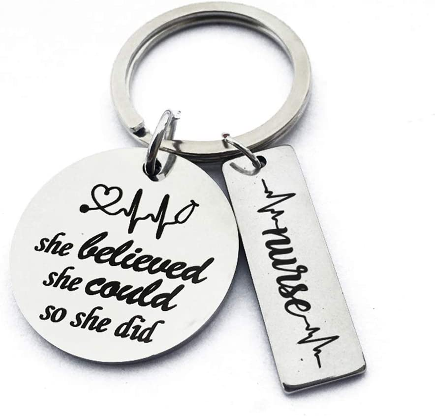 #N//A Rlmobes Round Pendant Keychain She Believed She Could So She Did Stainless Steel Keyring