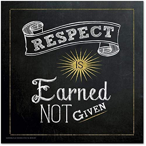Respect is Earned Not Given Inspirational Quote Fine Art Print. Chalkboard Style Poster.