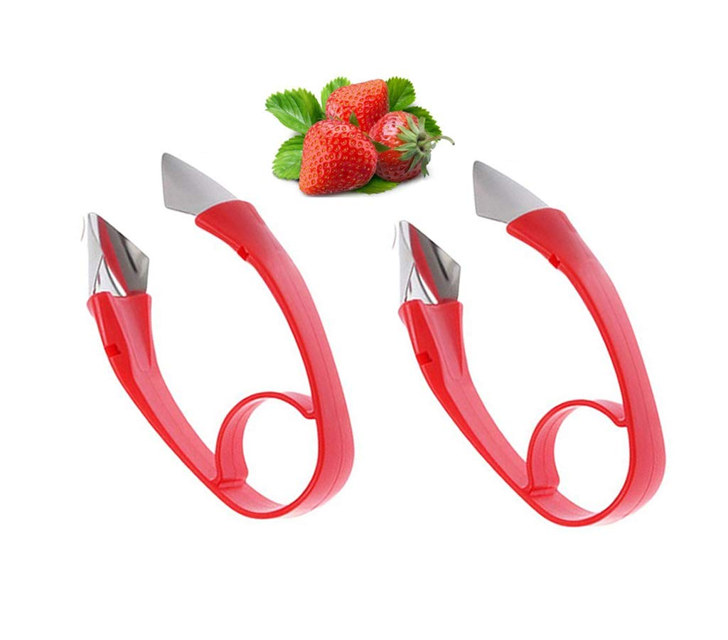 Ruibo Strawberry/Tomato Corer,Strawberry/Tomato Huller Top Stem Remover,Good Grips Easy-Release Kitchen Fruit Gadgets Tools Red 2 Pack