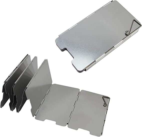 2 Piezas Parabrisas Plegable, 9 Placas Parabrisas Camping Aleación de Aluminio Plegable para Camping Cocina Estufa de Gas Escudo Pantalla de Viento ...